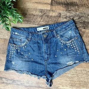 Topshop Moto Shorts Stud Distressed Jean Size 30